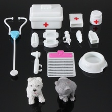 14 pièces Mini docteur Set jouets peluche pour enfants semblant docteur infirmière enfance jeux matériel médical jouets pour poupée accessoires