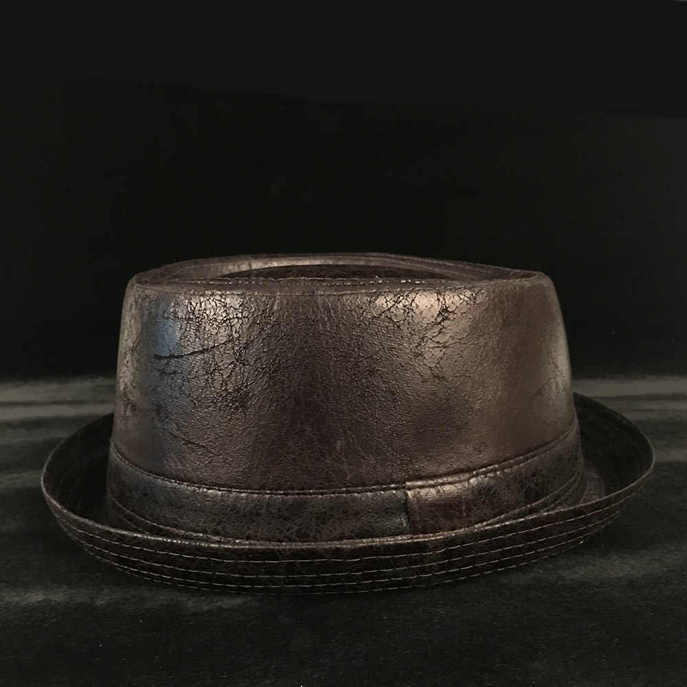 Detail Feedback Questions about Vintage Leather pork pie Fedora Hat ... 0679816fa351
