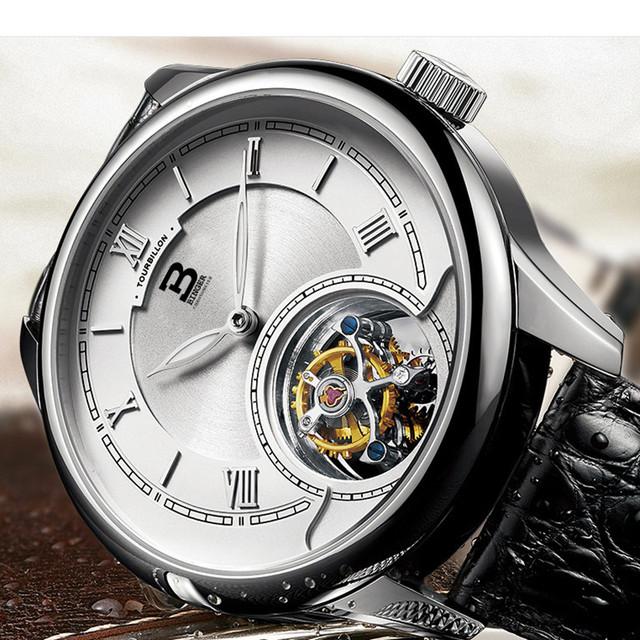 Brand Simple Men Roman Business Watches High Quality Seagull Movement Mechanical Watch Tourbillon Self Winding Wristwatch Saphir