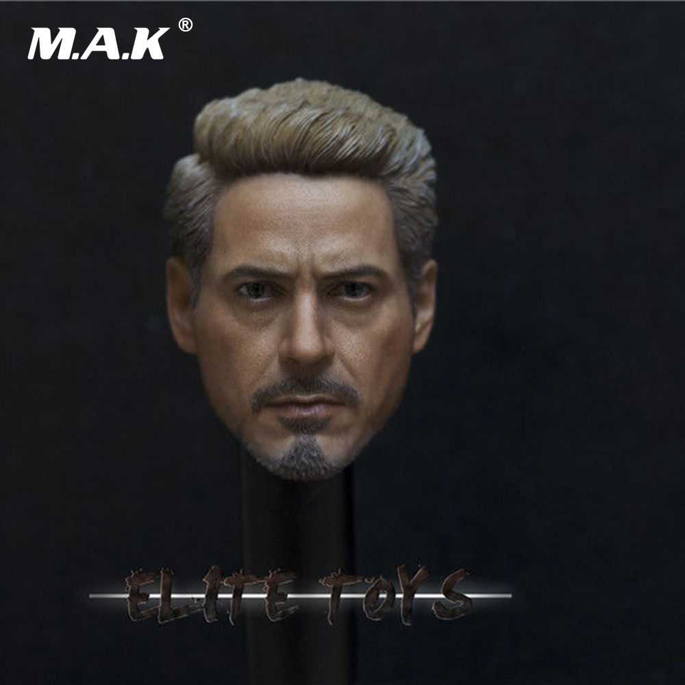 1/6 Scale Male Figure Accessory PVC Male Head Sculpt Tony Stark Iron Man Carved Model Toys for 12