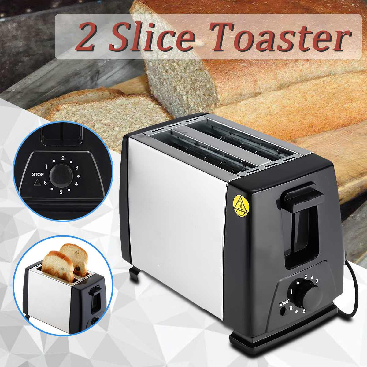 750W 2 Slice Toaster Maker Machine Household Automatic Fast Heating Electronic Bread Toaster Oven Toaster Sandwich Maker Grill