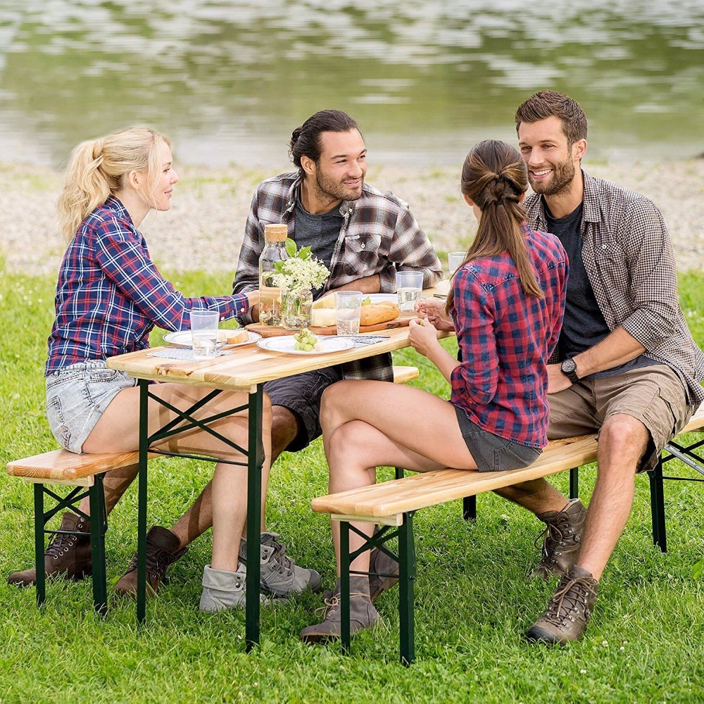 Giantex 3 PCS Outdoor Wood Picnic Table Beer Bench Dining Set Folding Wooden Top Patio Outdoor Furniture OP2837 giantex picnic table bench set outdoor backyard patio garden party dining all weather outdoor furniture op3499bk