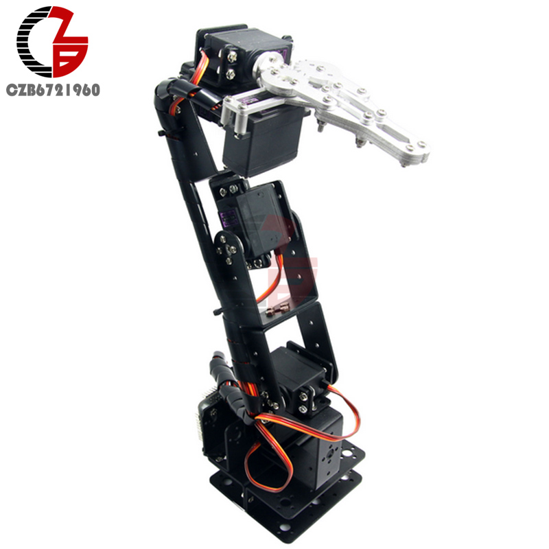 1Set Aluminium Robot 6 DOF Arm Mechanical Robotic Arm Clamp Claw Mount Kit Without Servos For Arduino DIY Robot Parts 4 dof robot mechanical arm claw