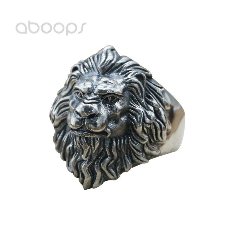 Vintage 925 Sterling Silver Lion Head Ring for Men Boys Adjustable Free Shipping delicate lion head shape ring for men