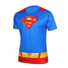 New 2015 quick-drying superman fitness movement breathable short-sleeved t-shirts sweatshirts Tights factory wholesale