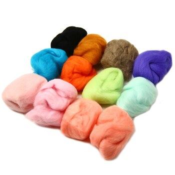 12 colores 5 g/bolsa lana Roving para DIY aguja Felting mano giro DIY diversión muñeca de costura fieltro lana cruda poke