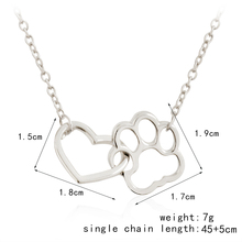 Linked Heart and Paw Hollow Dog Paw Claw Pendant