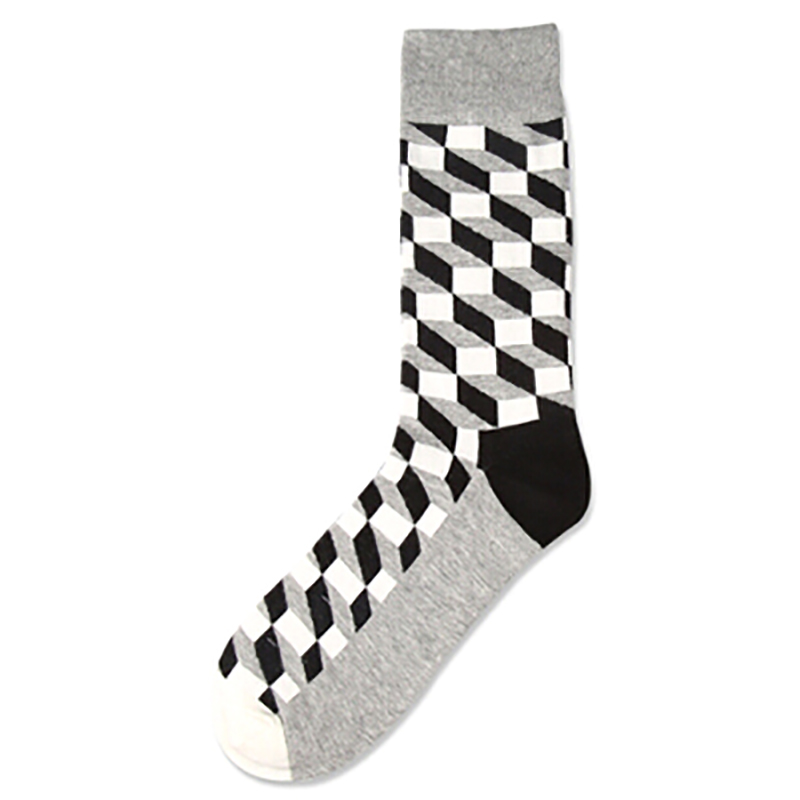 Combed Cotton Sox stockings Mens 1pair Tide Brand Happy Stocking Colorful Gradient Diamond Men Harajuku Casual Business Stocking in Men 39 s Socks from Underwear amp Sleepwears