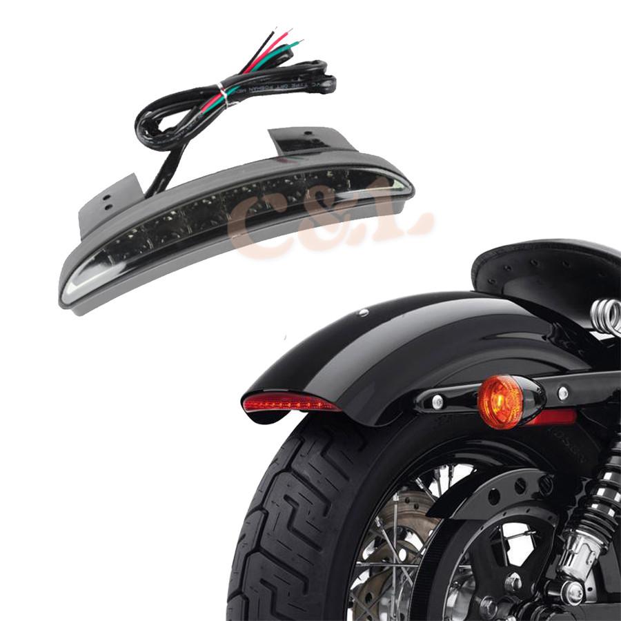 Prix pour Nouveau Moto Fumée Len Arrière Fender Bord LED Feu arrière Pour Harley Davidson Fer 883 XL883N XL1200N Haché