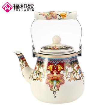 2.7L High Quality Enamel kettle dinerware teapot kitchen tools samovar electric Handle kettle tea pots with Flower stamp