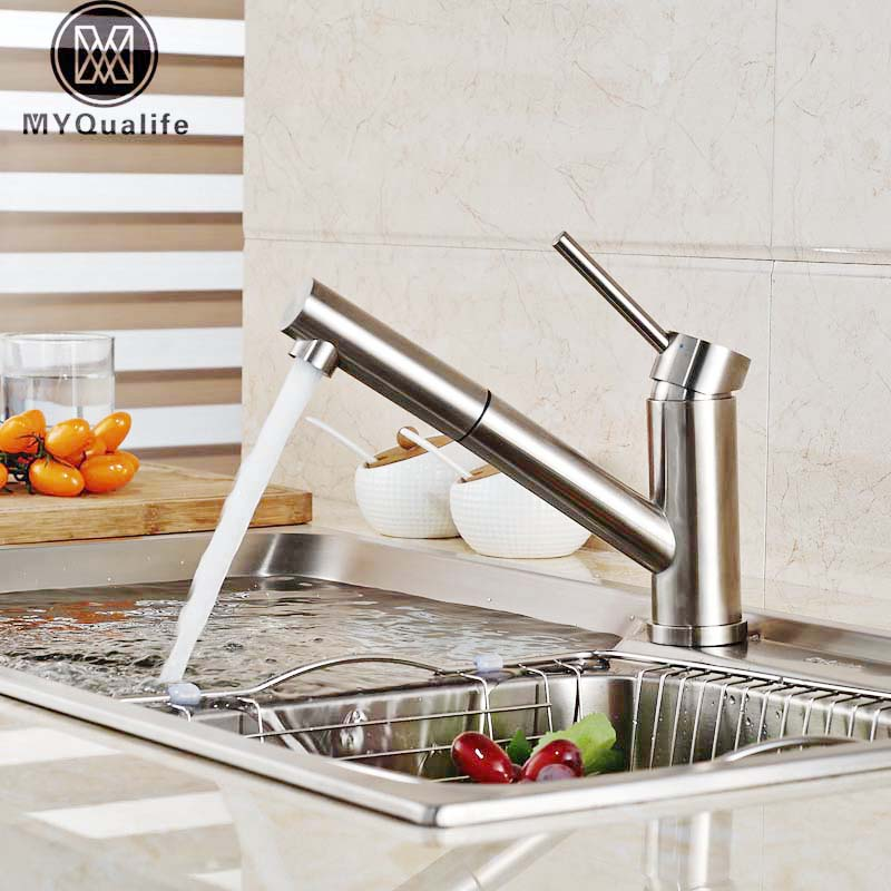 Deck Mount Pull Out Kitchen Sink Faucet Brushed Nickel Single Lever Hot and Cold Water Mixer Tap Bathroom Water Crane new arrival tall bathroom sink faucet mixer cold and hot kitchen tap single hole water tap kitchen faucet torneira cozinha