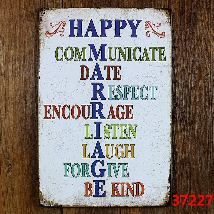 HAPPY MARRIAGE Vintage Tin Signs Retro Metal Plate Painting Wall Decoration  For Bar Home Club Pub And So On 30cm*20cm In Plaques U0026 Signs From Home U0026  Garden ...
