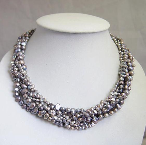 Genuine Grey Freshwater Pearl Necklace Multi Strand Pearl Jewelry