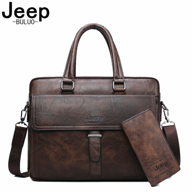 JEEP BULUO Men Briefcase Bag Leather Office Bags For 13 3 inch Laptop Business Bags 2