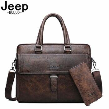 JEEP BULUO Männer Aktentasche Tasche Leder Büro Taschen Für 13,3 zoll Laptop Business Taschen 2 stücke Set Handtaschen Große Kapazität totes Männlich