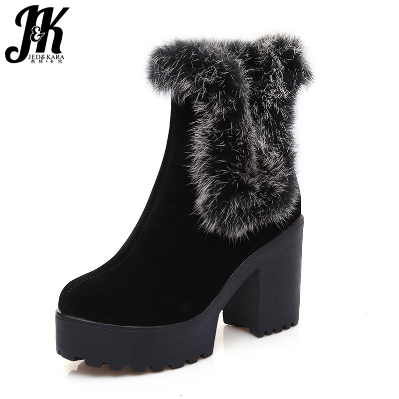 Plus Size 34-43 Rabbit Fur Charm Warm Winter Boots 2017 Fashion Thick High Heels Platform Shoes Woman Skid Proof Snow Boots plus size 34 43 2016 patch color ankle boots thick high heels skid proof platform shoes woman rivets lace up fall winter boots