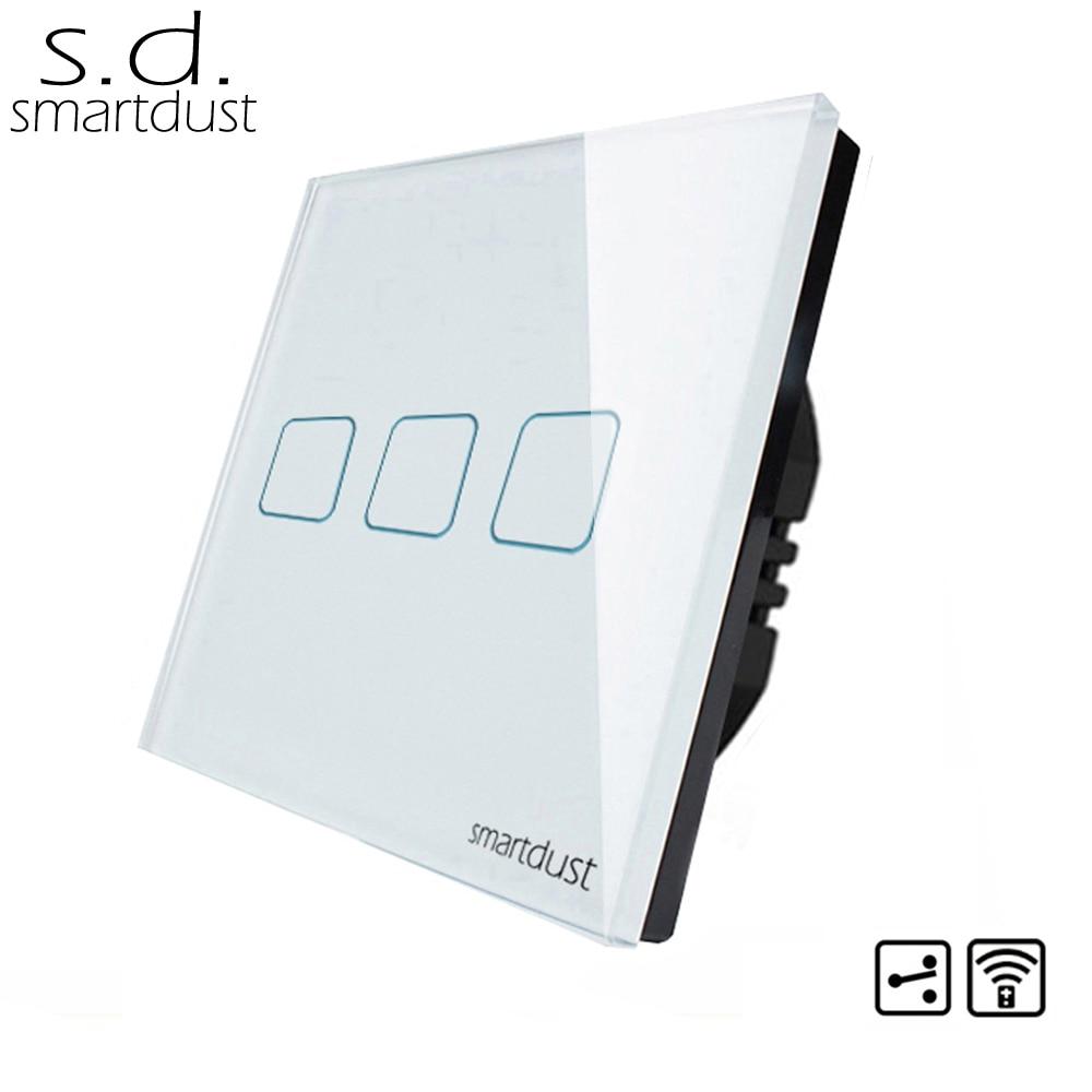 Smartdust EU Type 3 Gang 2 voies RF télécommande sans fil commutateur intelligent domotique mur lumière LED commutateur tactile