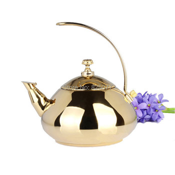 1PCS 1.5L Gold or Silver Color Selectable Stainless Steel Water Kettle Creative Pot Kitchenware Tools KF18