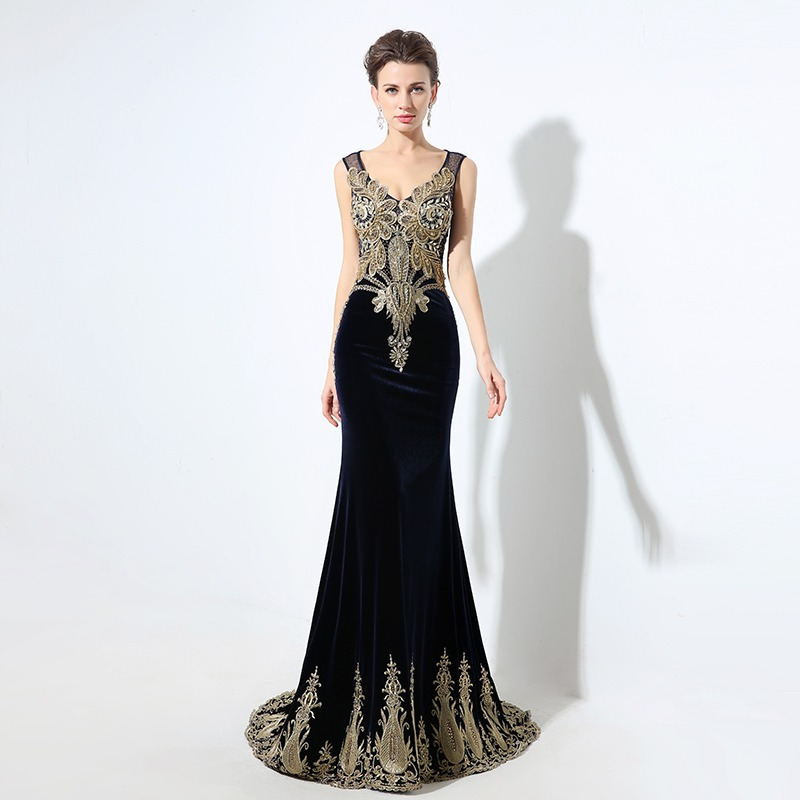 66b13bc4e8 Elegancki złoty frezowanie Mermaid suknie wieczorowe granatowy aksamit 2019  prawdziwe zdjęcia kryształowe eleganckie kobiety Maxi suknie