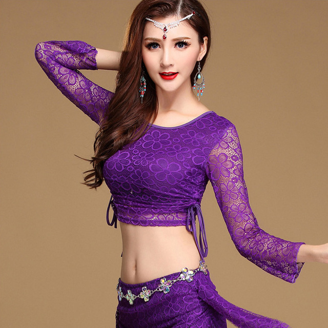 3297d3d1751 Sexy Lace Long Sleeve Eastern Oriental Belly Dance Tops Shirts Drawstring  Costumes for Women Bellydance Indian