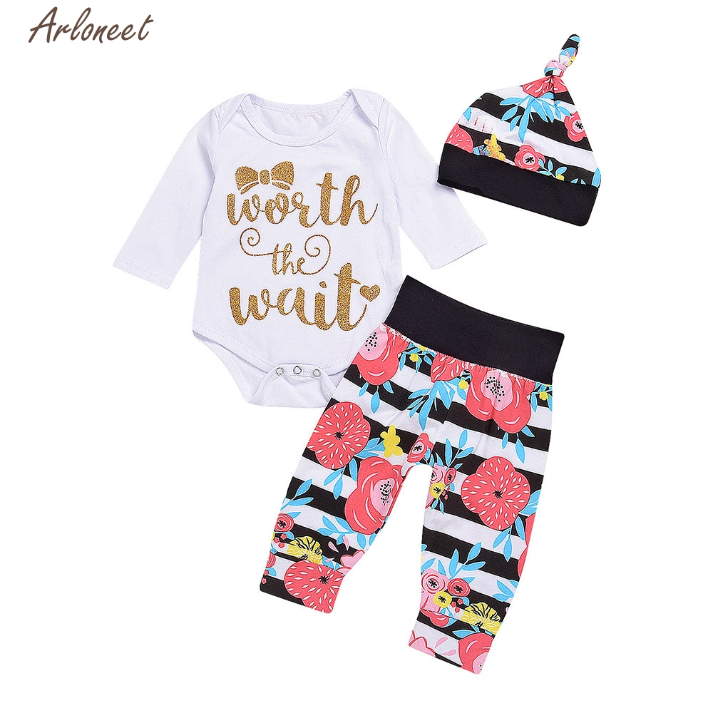 TELOTUNY Baby Girl Clothes Newborn Infant Baby Girl Letter Floral Romper Tops+Stripe Pants Hat Clothes Set Y121530