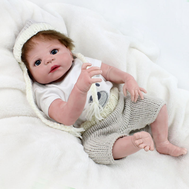 55cm Full Silicone Reborn Baby Doll Toys Lifelike Play House Newborn Bebe Boy Babies Brithday Gift Bathe Shower Bedtime Toy цена и фото