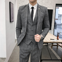 Wedding Dress For Man Suits Slim Fit Plaid Suits New Man Jackets+Pants 2 pieces High Quality Men Smart Casual Suits Blazer