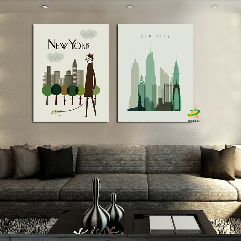 Print 2Panel New York Modern Urban Skyscraper Painting Modern Famous City Buildings Canvas Art Wall Picture for Living Room Sofa