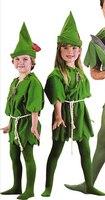 Free Shipping 2016 Hot Sales Halloween Costume Green Wizard Robin Peterpan Lvren The Children Cosplay Costume