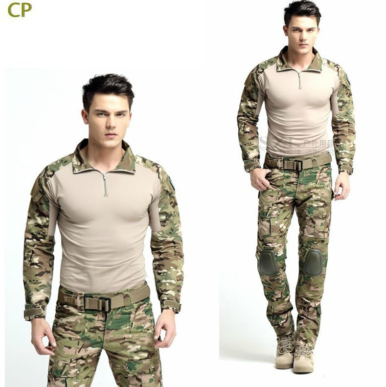 Tactical military uniform clothing army military combat uniform tactical pants with knee pads camouflage hunting clothes tactical g3 uniform hunting combat shirt cargo with pants knee pads camouflage bdu army military men clothing set acu fg black