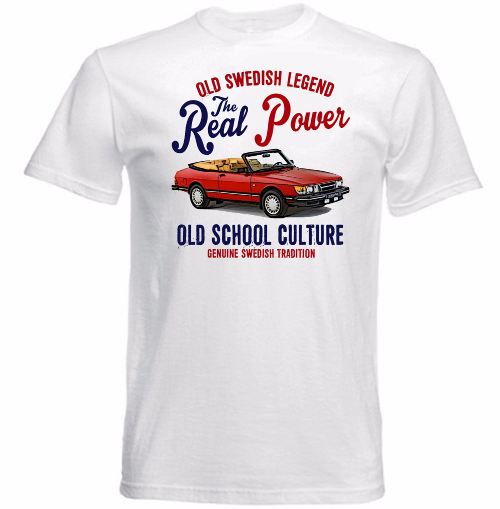 2018 Hot Sale Super Fashion Top Quality T Shirts Men O Neck Vintage Swedish Car 900 Turbo Convertible Customize T Shirts