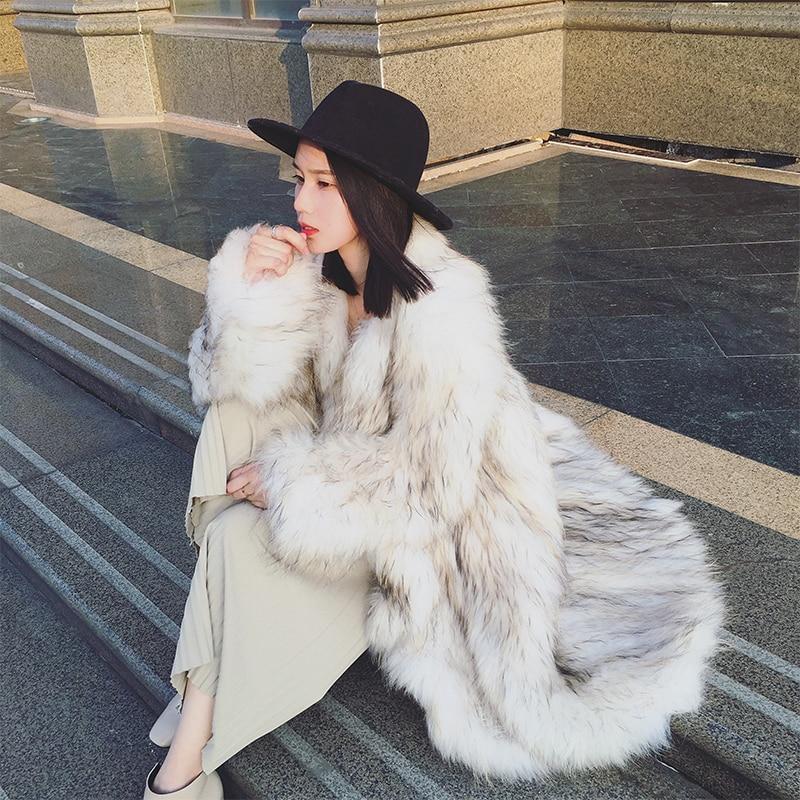 Harppihop фу натуральным лисьим мехом пальто из натуральной кожи трикотажные енотовидная собака мех толстый теплый Лисий пальто Для женщин шуб...
