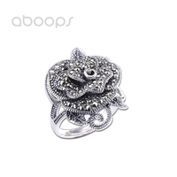 Vintage 925 Sterling Silver Rose Flower Ring with Marcasite Stones for Women Girls Adjustable Size 6 8 Free Shipping