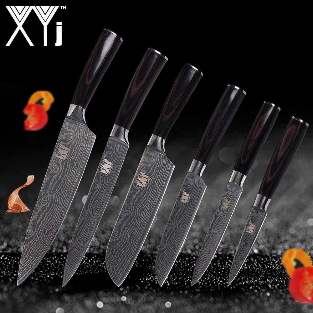 XYj Cuisine Couteaux Set En Acier Inoxydable Couteaux de Cuisine Outils 3.5 2*5 7 8 8 Couteaux de cuisine Couleur Manche En Bois Beauté Veines
