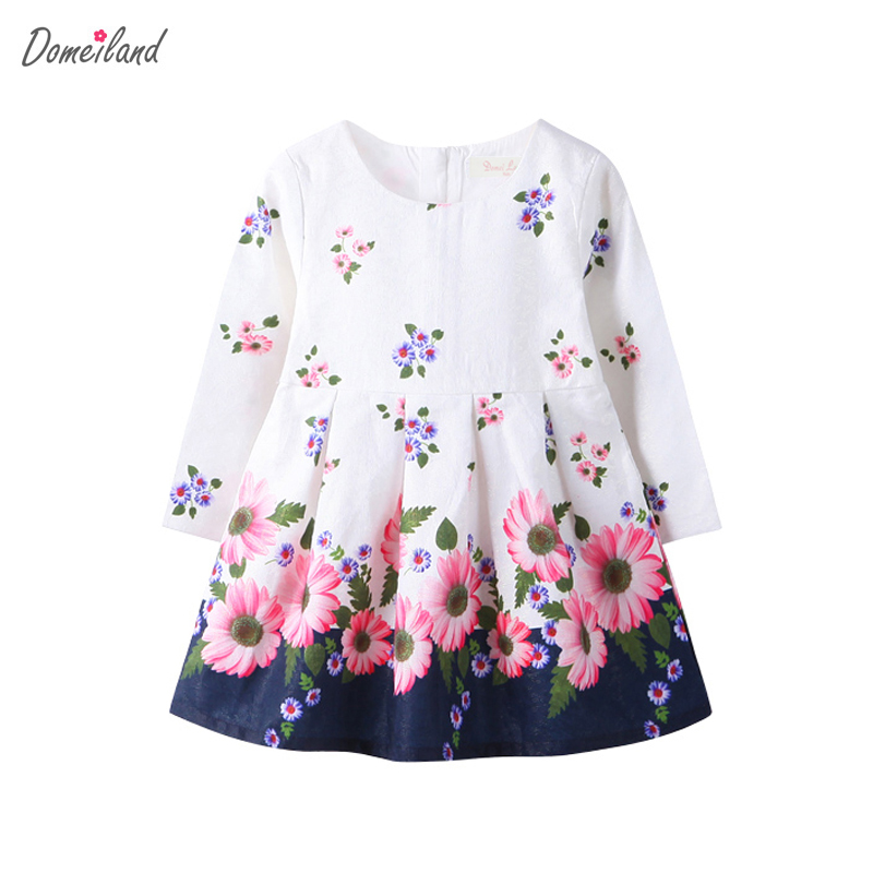 2017 Fashion spring Brand DOMEI LAND Children Clothes girl print flowers Princess long sleeve cotton dress Kids Party clothing