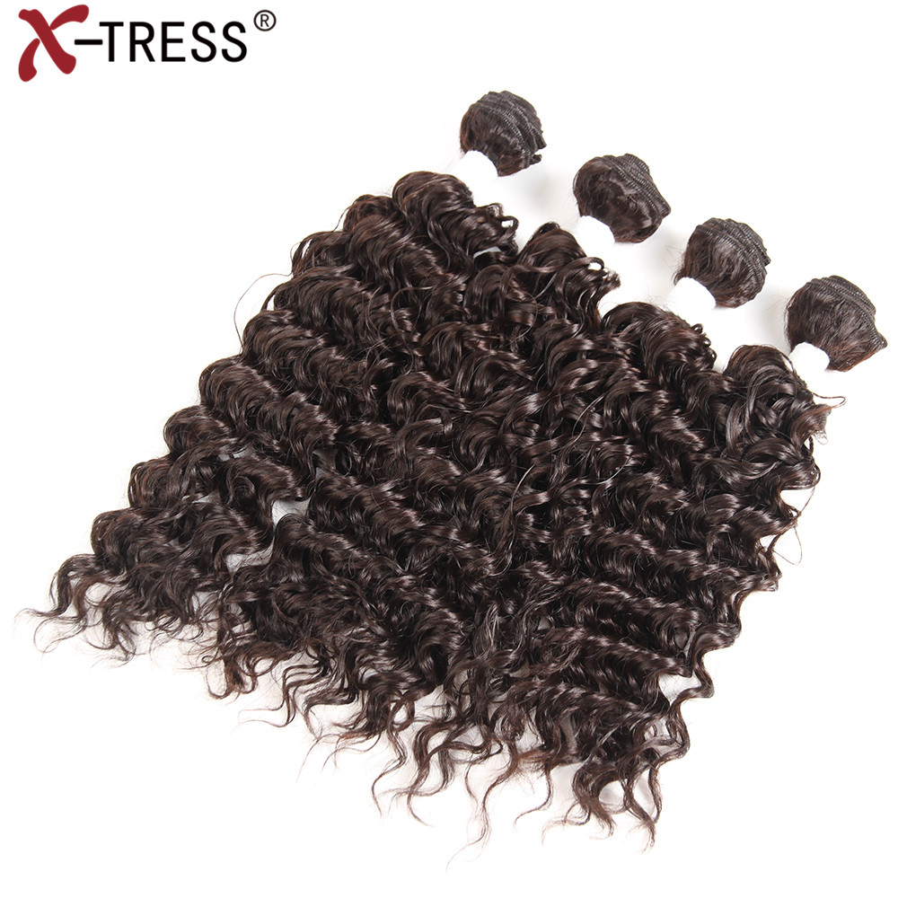 X-TRESS Synthetic Hair Weaving Heat Resistant Weaves 16161818Loose Deep Hair Bundles Extension High Temperature 4pieces/lot