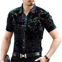 Silk Vevlet Flloral Shirt Camisa Social Masculina Chemise Homme See Through Summer Short Sleeve Male Shirt 3xl Men Velvet Shirt