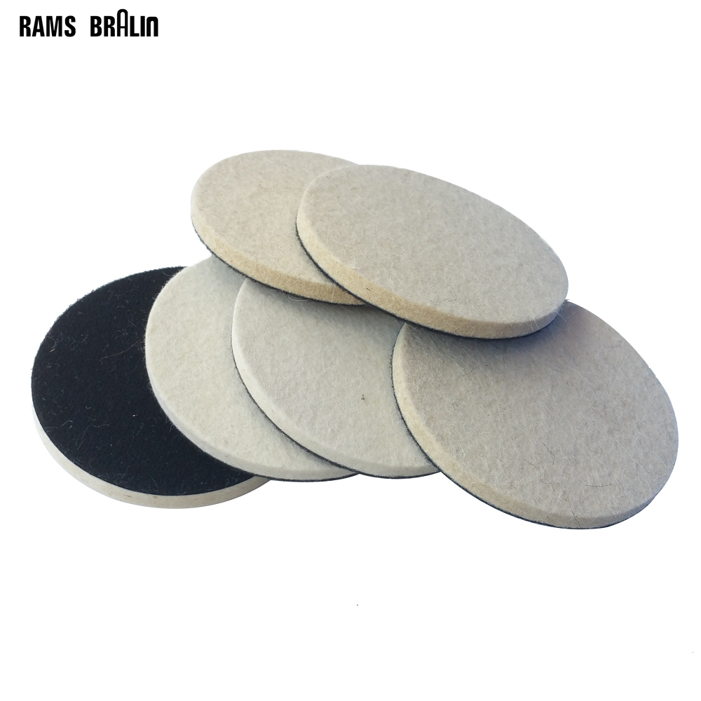 12 Pieces 5 In. / 125mm Hook & Loop Wool Felt Wheel Coarse & Fine For Stainless Steel Metal Polishing