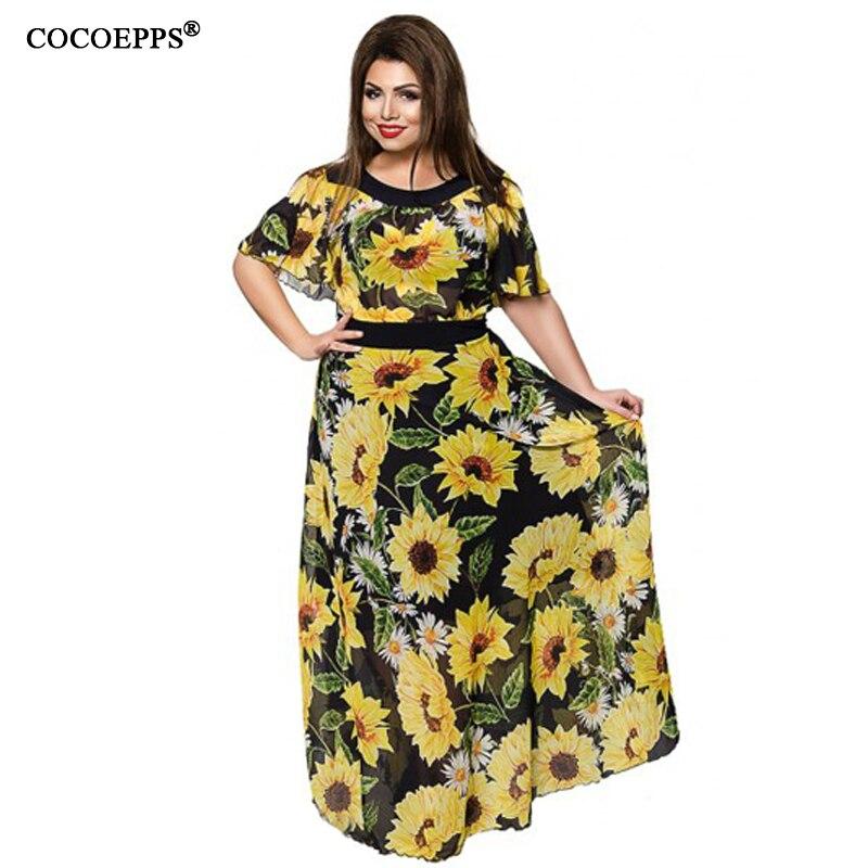 636ab5a7fb24 Mulheres verão Chiffon Vestidos Longos Tamanho Grande Girassol Floral  Impressão Vestido Até O Chão Plus Size Batwing Luva Maxi vestidos 5XL