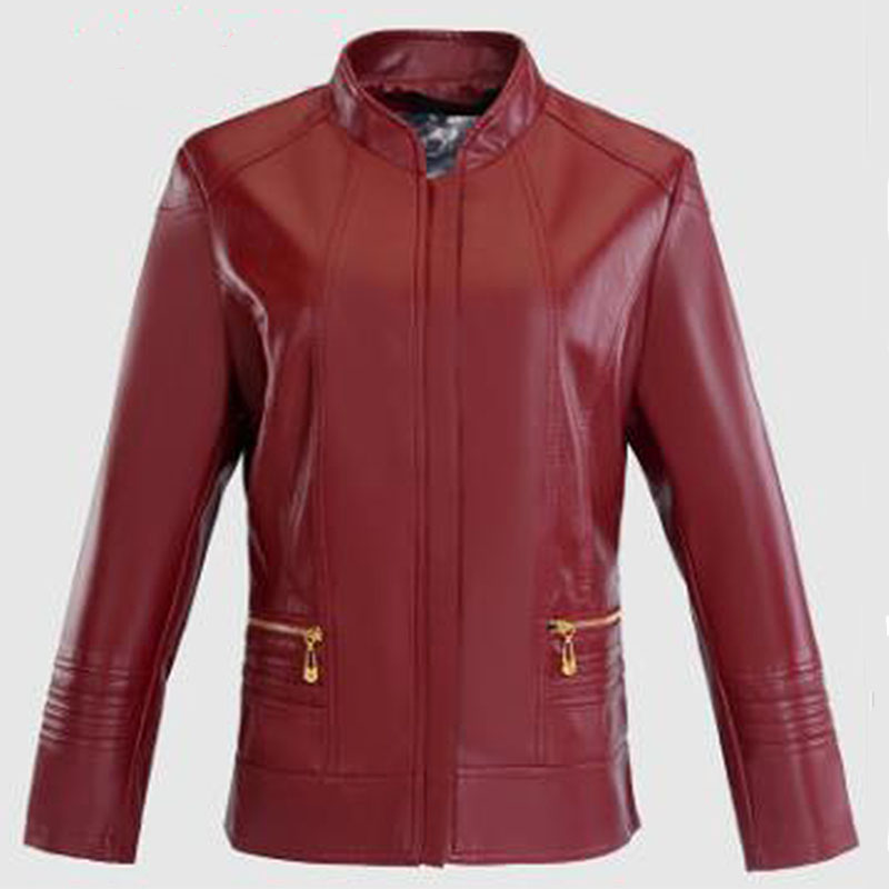 2018 spring PU leather jacket women loose faux leather short O neck Zipper coats fashion streetwear Moto & Biker leather jacket