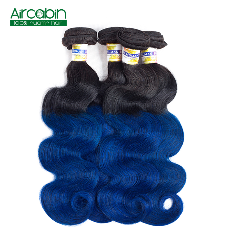 AirCabin T1B/Blue Body Wave 4 Bundles Pre-Colored Ombre Dark Roots Blue Peruvian Body Wave Human Hair Weave Non Remy ...