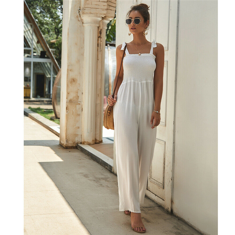 Fashion Women Ladies Summer Hot Trend Simple Long Trousers Strappy Playsuit Holiday Casual Slimmer Loose Romper Fitting Jumpsuit