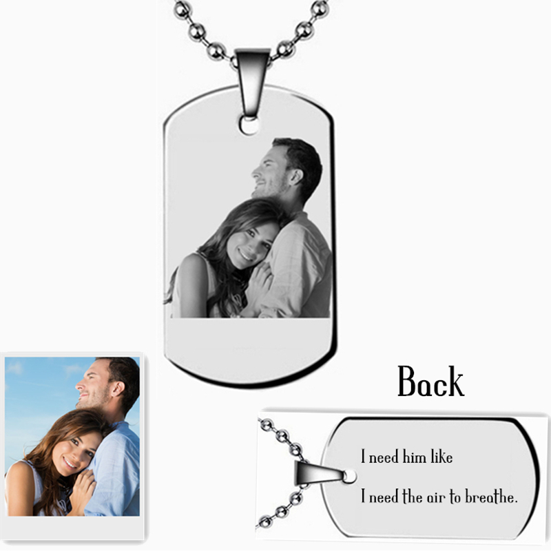 Personalized Photo Words Engraved Tag Necklace Custom Name Pendant Necklace Gift For Family Friends Lovers Girls