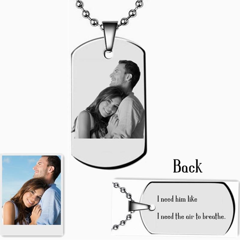 Palabras personalizadas de fotos Grabado Etiqueta Collar Collar con nombre personalizado Colgante de regalo para familiares Amantes Chicas