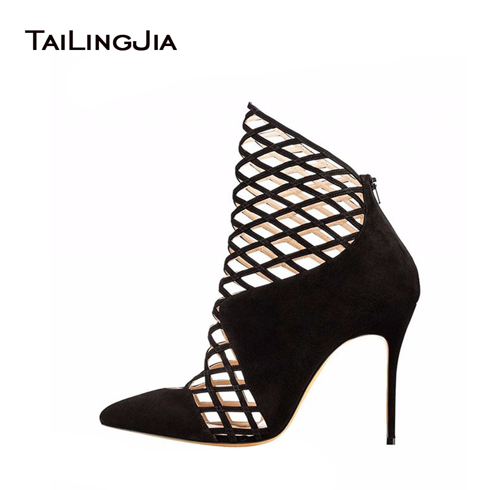 2017 Ladies High Heel Pointed Toe Pumps Cut out Decoration Sandals Handmade Stiletto Shoes For Party Dress fashion designer women high heel sandals mixed color strap cut out pumps heel elegant ladies weeding dress shoes real photo