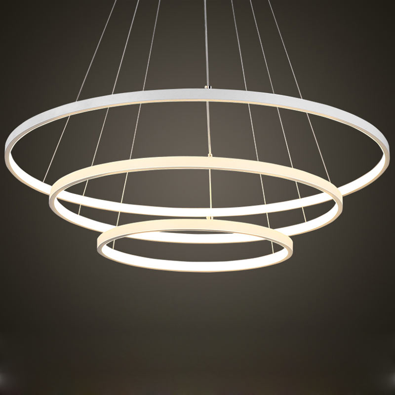 Modern 3 Ring Led Pendant Light Kitchen Living Room Dining Room Hanging Rope Lamp White PC Lampshade Home Lighting Fixtures 220V modern led glass pendant light with white beige lampshade lamp for dining room restanrant kitchen foyer balcony lighting fixture