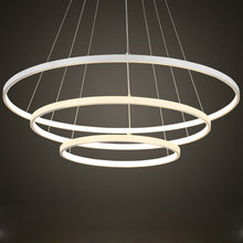 Modern 3 Ring Led Pendant Light Kitchen Living Room Dining Room Hanging Rope Lamp White PC Lampshade Home Lighting Fixtures 220V