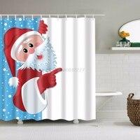 Merry Christmas Santa Claus Snowman Fabric Waterproof Bathroom Shower Curtain Set 71 X71 12 Hooks H0VH