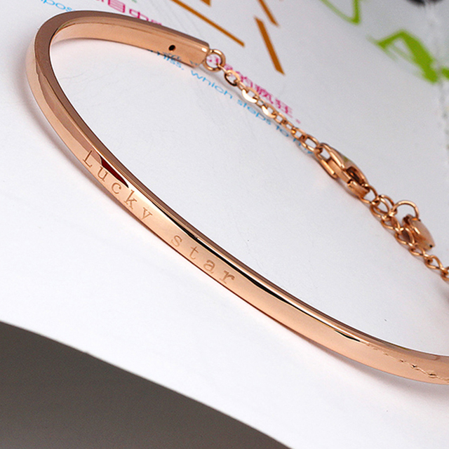 XXX 18k Gold Bangles 2017 New Women Girl Miss Gift Bracelets Rose Lucky Star Decorated Fashion Trendy -jewelry Party Real