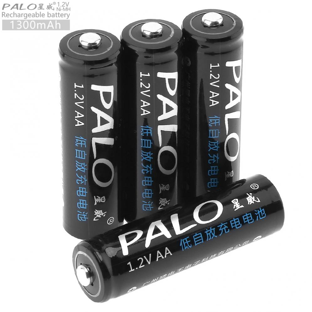 PALO Sale 4pcs <font><b>1.2V</b></font> <font><b>AA</b></font> 1300 mAh Ni-MH <font><b>Rechargeable</b></font> <font><b>Battery</b></font> with Over-Current Protection for Children's Toy / Mouse / Camera image